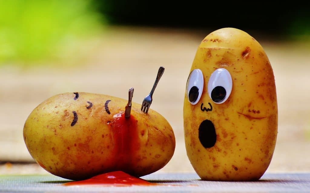 Funny photo of a murdered potato and another one in shock
