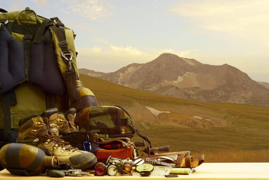 Photo of Camping equipment before a mountain