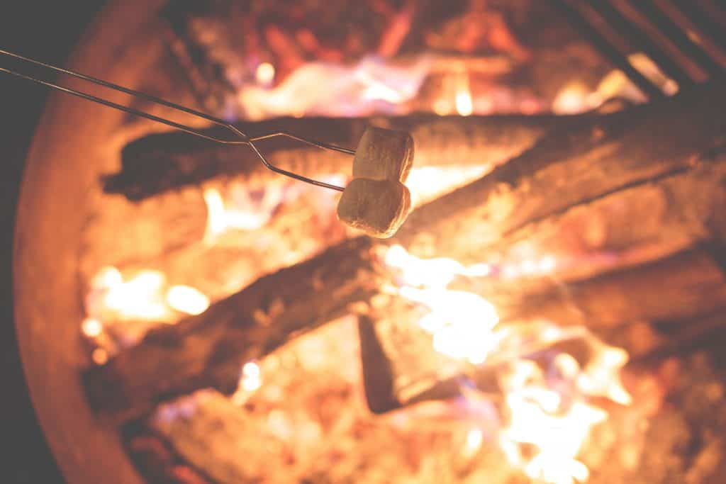 Photo of Marshmellows above campfire