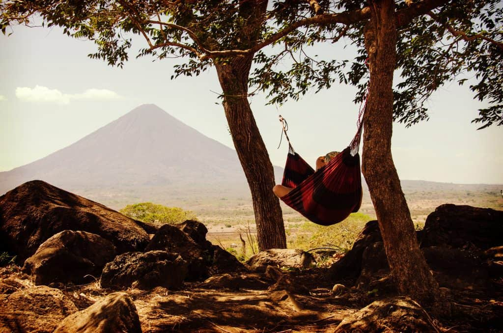 Photo of Person resting on a hammock