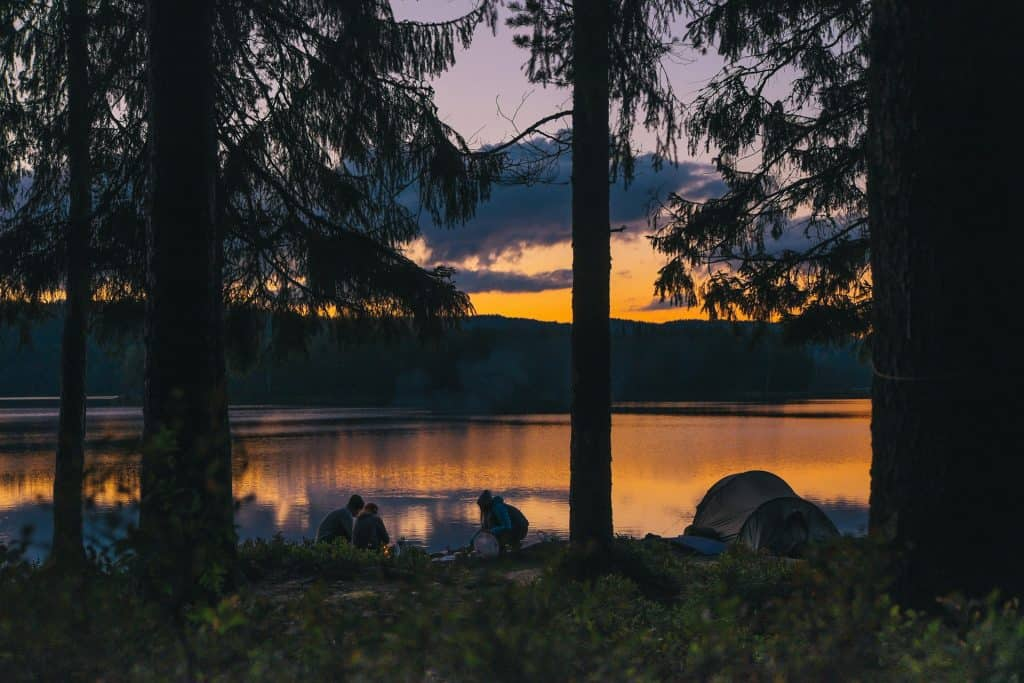 Lakeside camping with a sunset