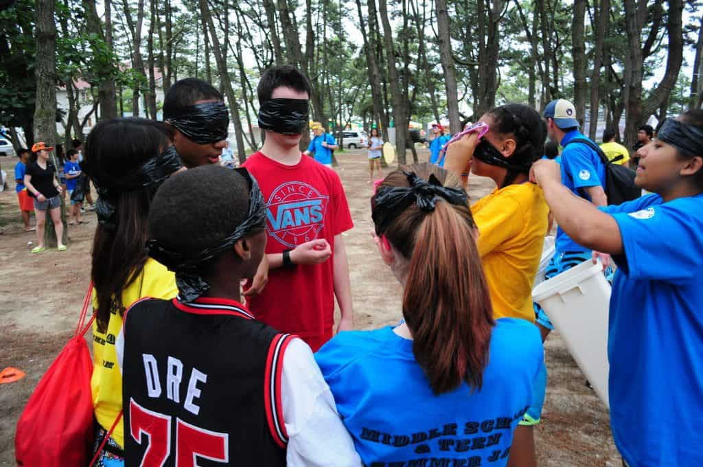 Camping Activity: Teenagers blindfolded