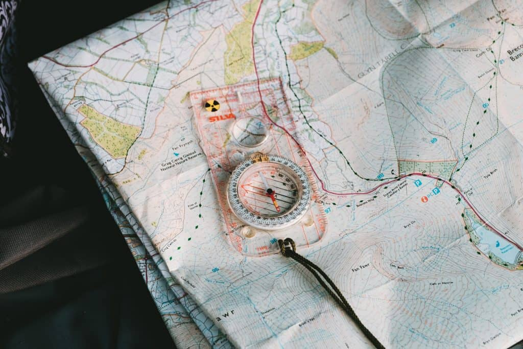 Picture of a Topo map and Compass