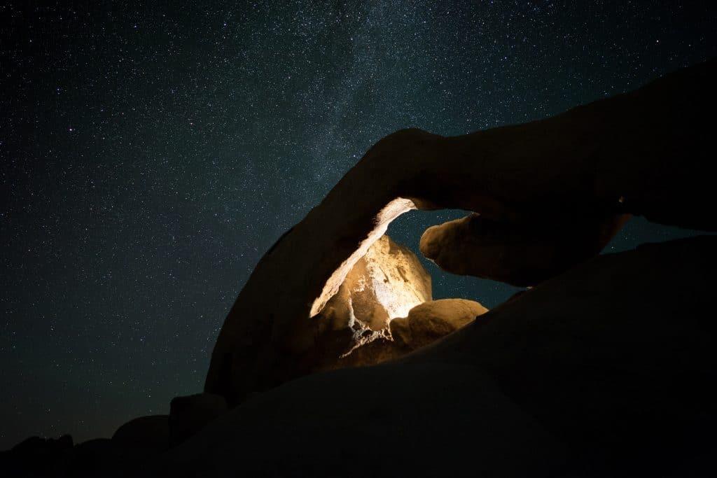 Shining Against Canyon At Night
