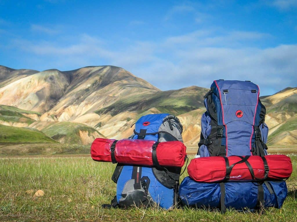 Two Backpacks on Grass Behind Mountains