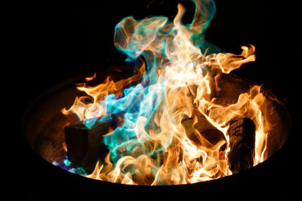 Fire bowl with colorful flames