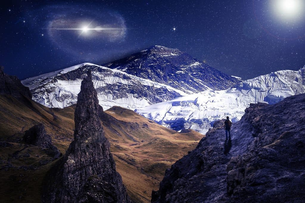 Long exposure photo of night scene of the mountains