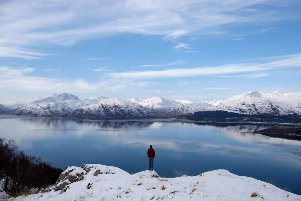 Experiencing Solitutde by the quiet lake in winter