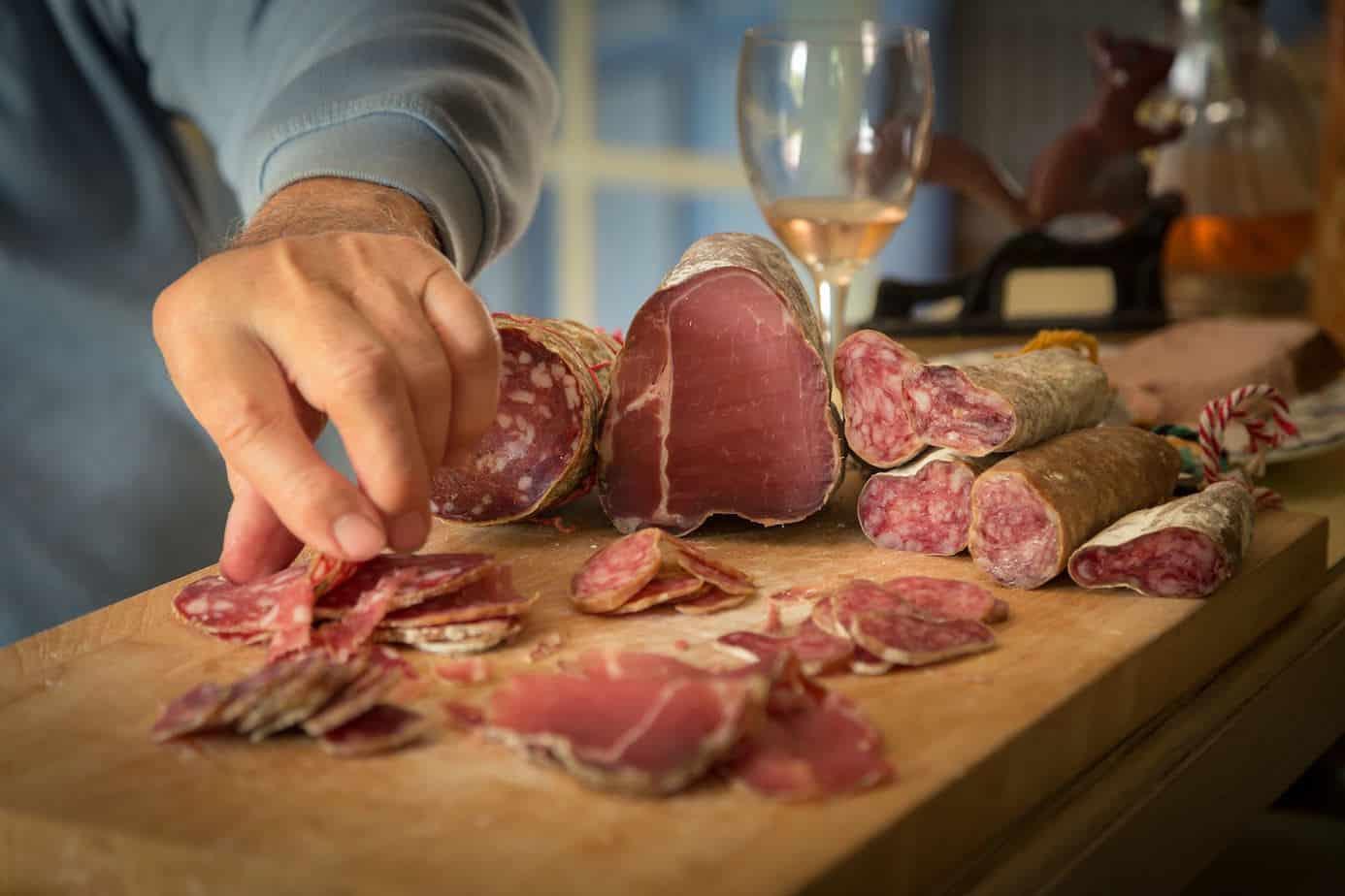 Salami getting sliced