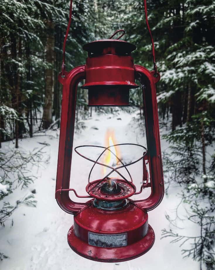 gas lantern in a winter forest