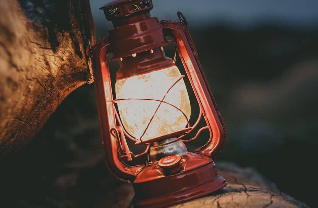 lantern beside two wood logs