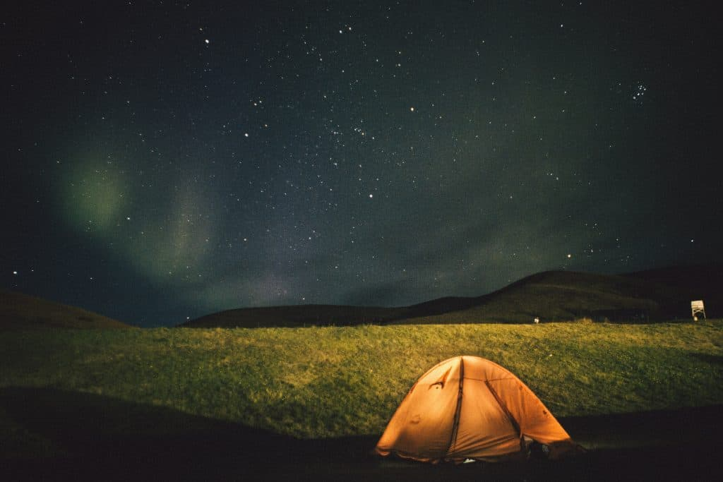 stargazing tent with a good view of the stars and aurora