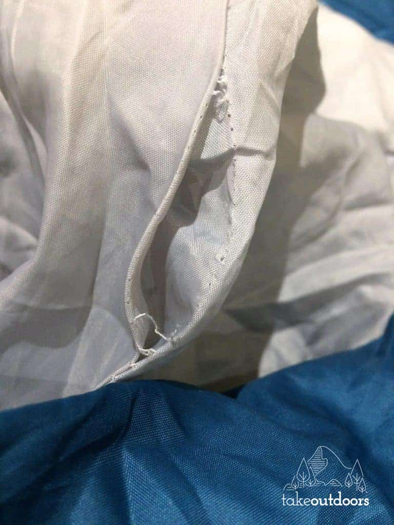 Stitching Issue with Winner Outfitters Mummy Sleeping Bag